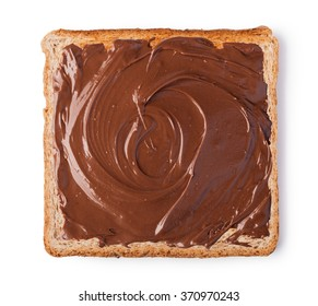Chocolate cream on a slice of Toast. Isolated on a white background