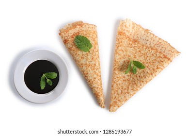 chocolate crepe on a white background