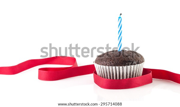 Chocolate Cup Cake Blue Candle Red Stock Photo Edit Now