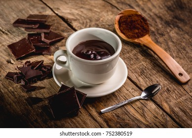 chocolate cup on wooden table