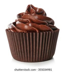 Chocolate cupcake isolated on white