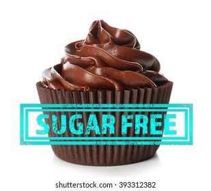 Chocolate cupcake and sugar free sign with text on white background