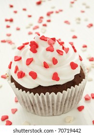 Chocolate cupcake for Valentine's Day. Shallow dof.