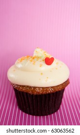 Chocolate Cupcake with Vanilla Frosting and Heart Shaped  Candy
