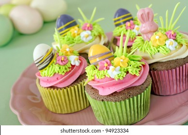 Chocolate cupcakes decorated for Easter