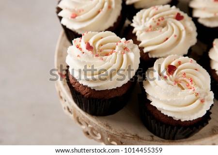 Chocolate Cupcakes Decorated White Chocolate Swirl Stock Photo Edit