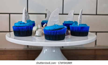 CHOCOLATE CUPCAKES WITH SHARK FINS ON TOP