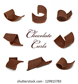 Chocolate Curls Assortment In Various Angle