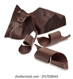 Chocolate curls, parts, pieces or chips isolated on white background including clipping path