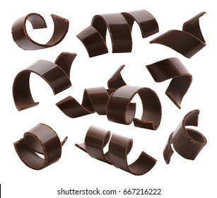 Chocolate curls set 1 isolated on white background as package design elements