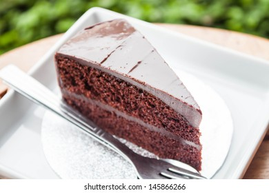 Chocolate custard cake serving in coffee shop garden