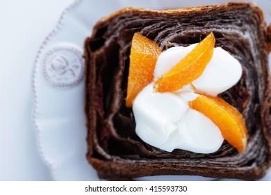 Chocolate Danish bread in slice