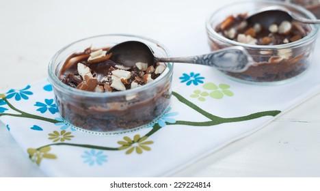Chocolate dessert in a glass