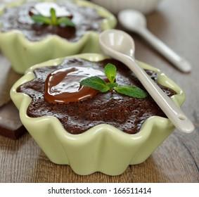 chocolate dessert on brown background