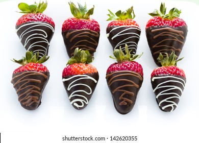 Chocolate dipped strawberries at dessert bar.