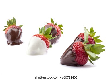 Chocolate dipped strawberries isolated on white