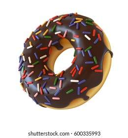 Chocolate donut or doughnut with sprinkles 3d rendering