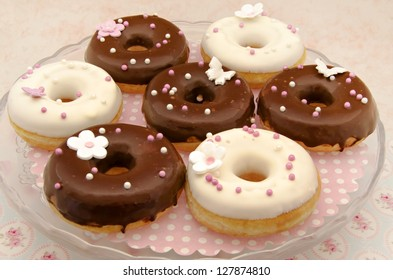 Chocolate donuts decorated