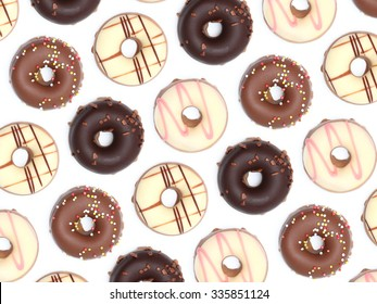 Chocolate donuts isoalted on a white background