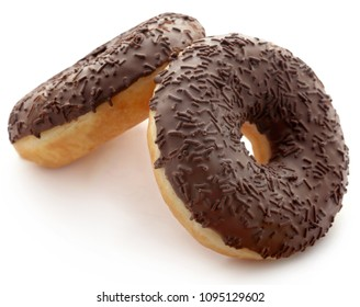 Chocolate donuts isolated over white background