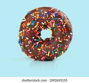 chocolate doughnut isolated on white background