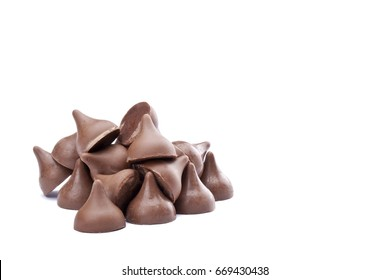 Chocolate drop isolated on white