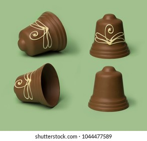 chocolate easter bells isolated, on colored background