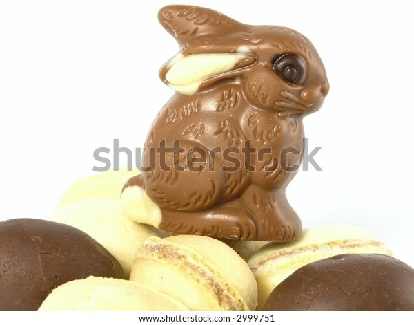 Chocolate Easter Bunny isolated on white background