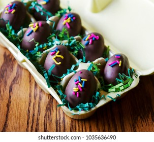 Chocolate easter candy in egg carton