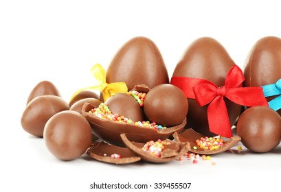 Chocolate Easter eggs isolated on white