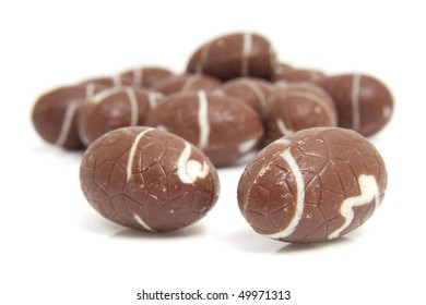 chocolate easter eggs isolated on white background