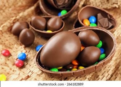 Chocolate Easter eggs on wicker fabric, closeup