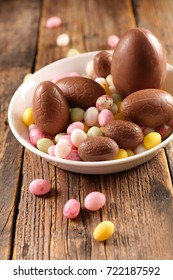 chocolate egg and candy egg