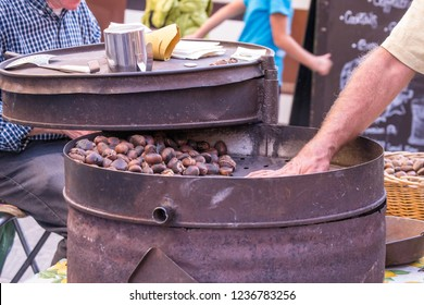 Chocolate Festival 2018 in Perugia, Umbria, Italy - sweets, dried fruit, and baked goods line the streets of Perugia during this yearly event.