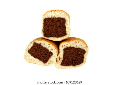 Chocolate flavored bun  in white background