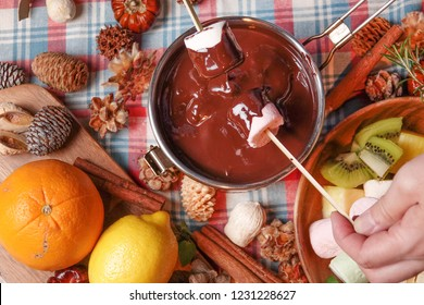 chocolate fondue in a marshmallow