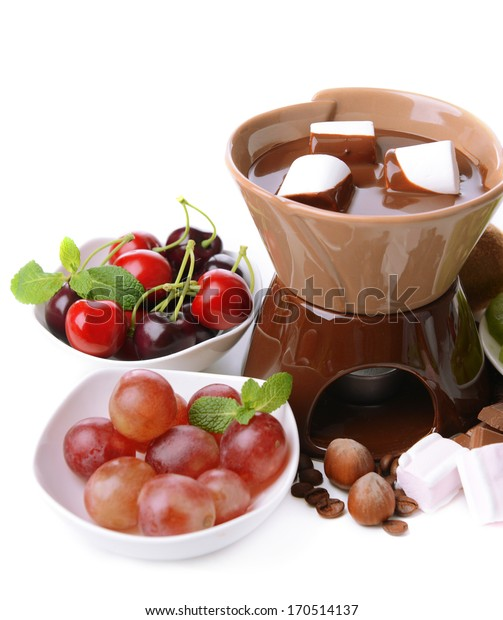 Chocolate fondue with marshmallow  and fruits, isolated on white