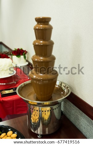 Chocolate Fountain Flows On Table Wedding Stock Photo Edit Now