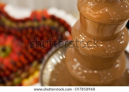 Chocolate Fountain Heart Fruits Wedding Reception Stock Photo Edit