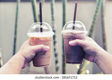 chocolate frappe and ice cappuccino coffee