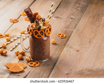 Chocolate freakshake with brezel waffles and popcorn