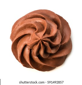 Chocolate frozen yogurt on white background with clipping path. Whipped cream. Mascarpone. Macro. Top view.