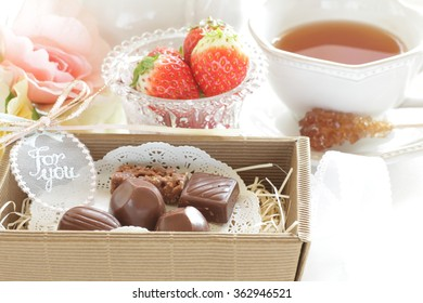chocolate in gift box for Valentine's day image
