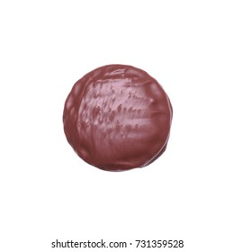 chocolate glazed cookie or biscuit isolated on white background
