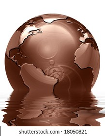 chocolate globe on a solid white background