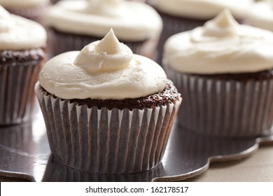 Chocolate gourmet cupcakes with sprinkles and buttercream frosting