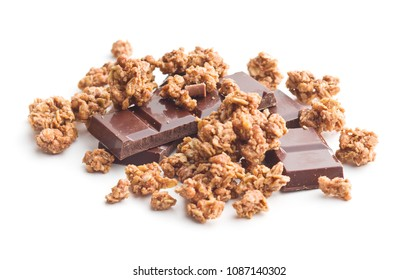 The chocolate granola breakfast cereals with chocolate bars isolated on white background.