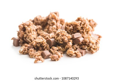 The chocolate granola breakfast cereals isolated on white background.