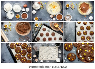 Chocolate Halloween cookies collage recipe step by step