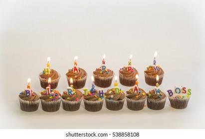 Chocolate Happy Birthday Boss Cupcakes